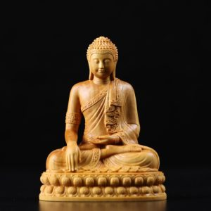 bouddha-tibetain-statuette-bois-massif-sculptée