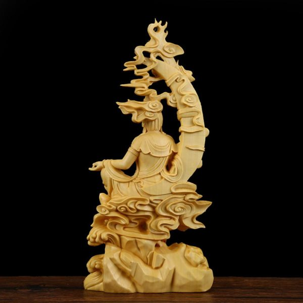 statue-tibetaine-de-bouddha-sculptée-bois-massif-artisanal