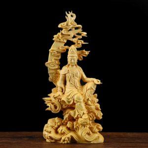 statue-de-bouddha-sculptée-bois-massif-fait-main
